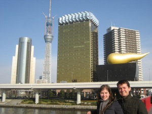 Matt and his wife Bethany in front of the Golden Poo (Asahi Beer building)